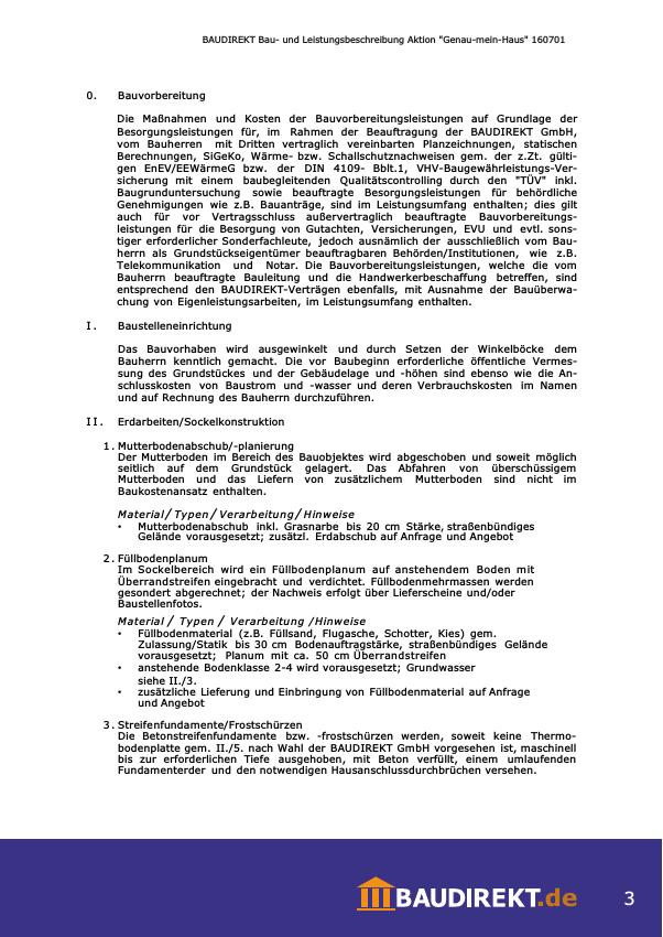 Bau Und Leistungsbeschreibung Aktion Genau Mein Haus Baudirekt